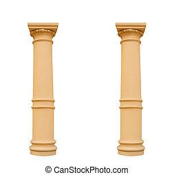twee, vrijstaand, achtergrond, witte , ionisch, kolommen, stijl