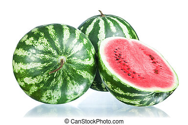 twee, vrijstaand, watermeloen, achtergrond, helft, witte , geheel