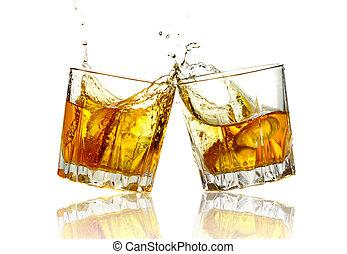 twee, vrijstaand, whisky, samen, clinking bril