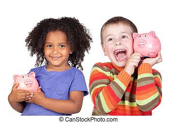 twee, vrolijke , kinderen, met, moneybox, spaarduiten