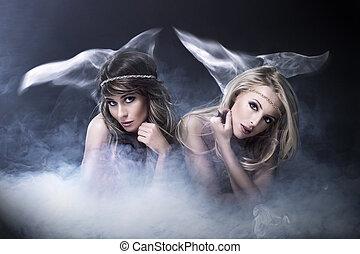 twee vrouwen, zoals, sirene
