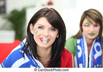 twee, vrouwlijk, italiaanse , voetbal, aanhang