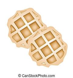 twee, waffles, achtergrond, witte , bakt, ronde
