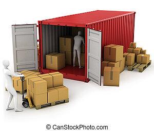 twee, werkmannen , uitladen, container