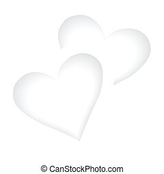 twee, witte , hartjes, romantische, achtergrond