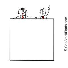twee, zakenlieden, en, een, witte , plakkaat