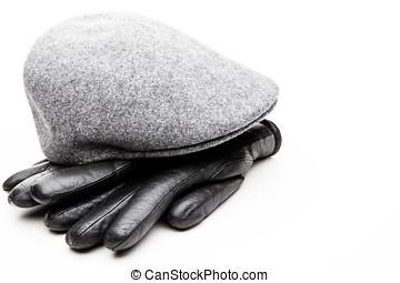 Tweed grey cap black leather gloves