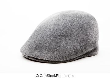 Tweed grey cap white background