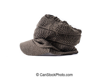 Tweed News Boy hat style Isolated on a White Background