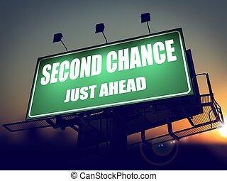 tweede, kans, zelfs, vooruit, op, groene, billboard.