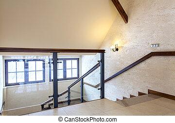 tweede, vloer, van, modern gebouw