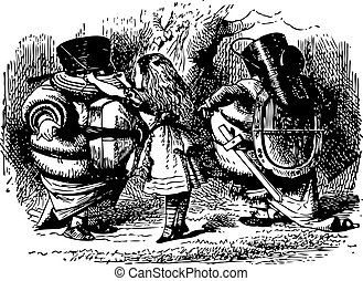 Tweedledum and Tweedledee Prepare to Fight - Through the Looking Glass and what Alice Found There original book engraving
