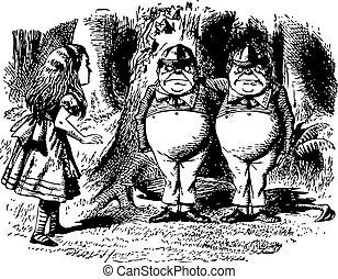 Tweedledum and Tweedledee - Through the Looking Glass and what Alice Found There original book engraving