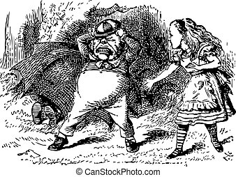 Tweedledum Stomps and Tears His Hair - Through the Looking Glass and what Alice Found There original book engraving