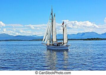 tweeling, mast, zeilboot, op, de, zee