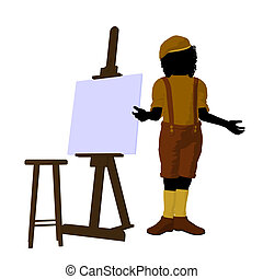 Tween African American Artist Illustration Silhouette - Male...
