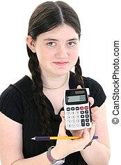tween, girl, calculato