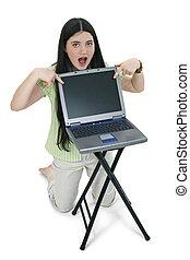 Tween Girl Laptop - Beautiful Tween Girl with long black...