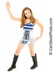 tween, ragazza, sciocco, robot, ballo