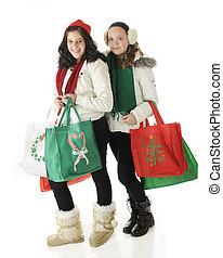 tweens, ir, christmas fazendo compras