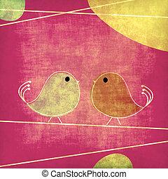 Tweet birds grunge background illustration