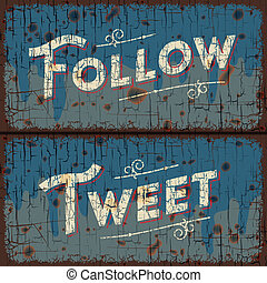 Tweet, follow words - social media concept - Tweet, follow -...
