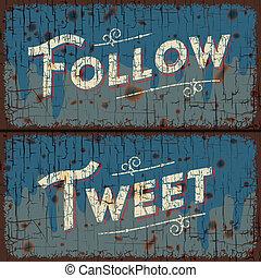 Tweet, follow words - social media concept - Tweet, follow -...