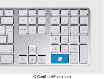 Tweet icon concept - Blue tweet icon concept on metallic...