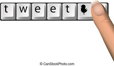 Tweet on Social Netork Computer Keys - A finger hits a...
