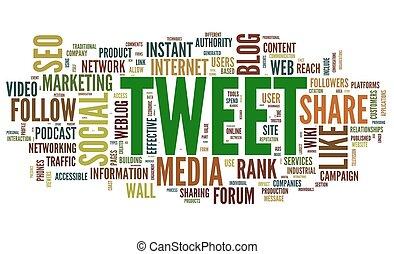 tweet, tag, palavra, nuvem branca