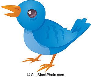Vector cartoon illustration of a cute blue bird twittering and tweeting.