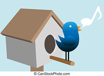 tweety, 새, 지저귀는 소리, tweets, 통하고 있는, 새 집