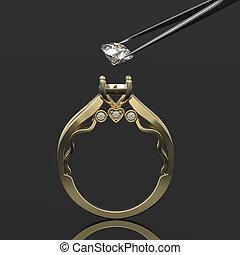 tweeze, ring, diamant, gold, 3d