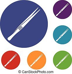 Tweezers icons set in flat circle reb, blue and green color...