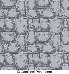 Twelve angle stone. Seamless black and white pattern of...