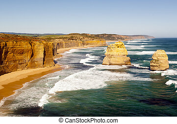 Twelve Apostles, famous landmark along the Great Ocean Road,...