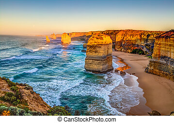 Twelve Apostles Victoria - Panoramic view of the stacks that...