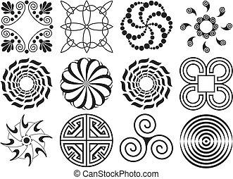 Twelve black & white design elements circular & curved