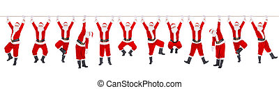 Twelve Christmas Santa Clauses on the rope, New Year concept...