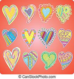 Twelve colored hearts