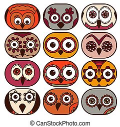 Twelve cute owl faces in oval shapes