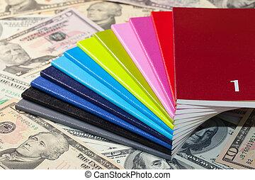 Twelve diaries and U.S. dollars