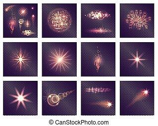 Twelve Different Light Effects on Transparent - Twelve...