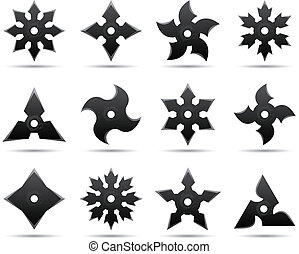 twelve different ninja stars