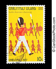 twelve drummers drumming - Part of a set of 12 mail stamp ...