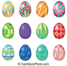 Twelve easter eggs - Illustration of twelve easter eggs on a...