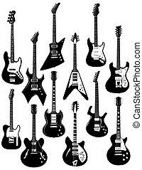 twelve electric guitars - A set of twelve precisely drawn...