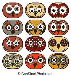 Twelve funny owl faces in oval shapes