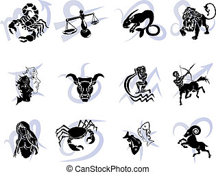 Twelve Horoscope Zodiac Star signs - Illustrations of the...