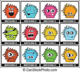 Twelve Monsters - cartoon illustration